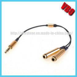 Calientes! Divisor de auriculares de 3,5 mm bañado en oro 1 Cable de audio estéreo de 2 salidas de audio para iPod iPhone