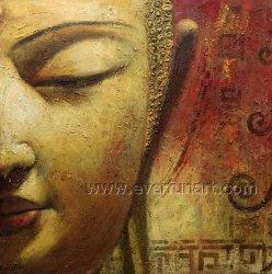 Alta calidad de Buda Buda Óleo Pintura de cara (BU-024)