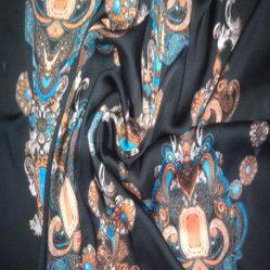 Tissu imprimé de polyester en mousseline, armure satin