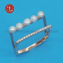 925 Sterling Silver العصرية على الطريقة الكورية متعددة الطبقات حفلات الزفاف النساء اللؤلؤ زركون