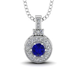 925 Sterlingsilber-blauer Saphir-hängender Schmucksache-Großverkauf
