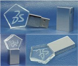 Crystal Star métal forme disque Flash USB Lecteur Flash USB acrylique transparente (C004)