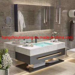 Graues Weiß-festes Holz-Badezimmer-Eitelkeits-moderne Dekoration-Hotelmöbel