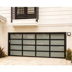 Portello sezionale di vetro del garage del beneficio di alluminio nero automatico residenziale di prezzi bassi