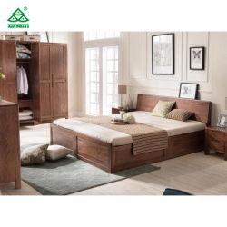 Madera maciza de pino estilo europeo, conjuntos de muebles de dormitorio cama tamaño king el alto grado de 186