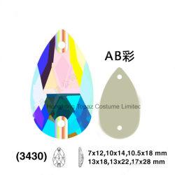 極度の明るいAbカラー結婚式のアクセサリ手はラインストーンの大きい低下の平背の水晶(5A低下の水晶ab)で縫う