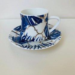 Brunch Rimmed mayorista de oro de té de porcelana Juego de Café Espresso