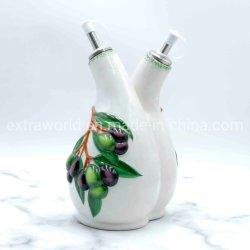Le restaurant de sauce soja en céramique et d'huile de la conception d'olive personnalisé Set Jar Ustensiles de cuisine
