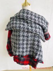sciarpa della doppia del fronte di modo delle donne 100%Acrylic grande dello scialle grande di griglia grata calda lunga di inverno