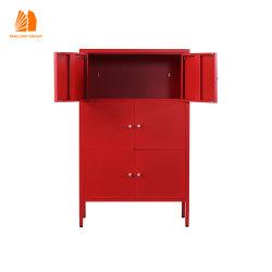 غرفة معيشة للأطفال تحتوي على 6 أبواب باللون الأحمر خزانة تخزين المعادن على الحائط