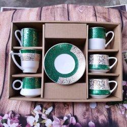Royal Fine Bone China Russian Cup en Saucer Porselein van 6 stuks