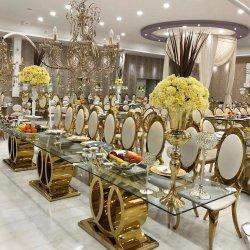 Mobiliario moderno silla de boda Ocio Inicio Hotel extensión mármol largo Mesa de Restaurante con tapa de vidrio, banquete francés de Barcelona, mesa de comedor Establecer