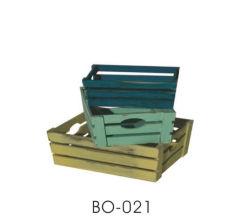 Cesto de armazenamento de artesanato em madeira com design de faixa e a alavanca