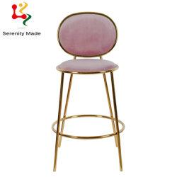 현대 분홍색 우단 술을 다는 금관 악기 금속 카운터 고도 의자 가구