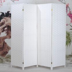 4 Panel de papel Rope Rattan Paneles divisores de habitación Casade madera Pantalla de partición