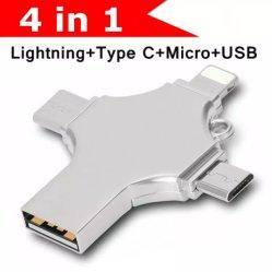 Nouveau 4 en 1 lecteur Flash USB 3.0 pour iPhone Android Clé USB OTG de type C 16Go à 32 Go Pendrive 128 Go