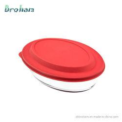 Ovale Form gehärtetes Glas Bakeware Geschirr Ladegerät Platte mit Kunststoff Deckel Mikrowelle/Ofen/Geschirrspüler Safe