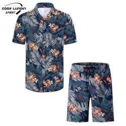 Cody Lundin Hombres camiseta manga corta mariposas coloridas de solapa Imprimir Streetwear Casual Blusa suelta la moda de playa de Hawai Shi