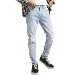 Copiado de los hombres al por mayor Jeans casual informal personalizado nuevo diseño estándar de algodón Blue Jeans