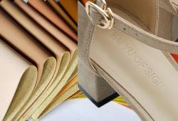 Hete Verkoop 0.6mm het Leer van Microfiber van de Textuur van de Huid van Schapen voor de Voering van de Schoen van Vrouwen