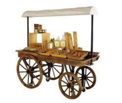 Деревянные вагон формы хранения дисплей тележки с навесом
