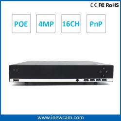 NVR di monitoraggio remoto Onvif P2p Poe 16ch 4MP