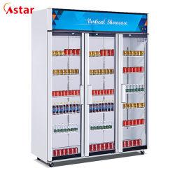 Astar fabricante profesional de tres puertas escaparate de lujo bebidas/pantalla/refrigerador