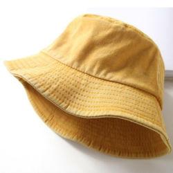 OEMの卸し売りFoldable特大人の女性は綿のデニムの黄色のバケツの帽子を洗浄した