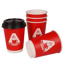 شعار الشركة المصنعة للمعدات الأصلية مخصص قابل للتحلل البيولوجي عالي الجودة 8 أونصات سعة 12 أونصة 14 أونصة 16 أونصة أكواب القهوة المزوّدة بورقة مزدوجة على الجدار