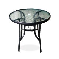 Patio haut de verre rondes Table Table à café de plein air avec trou parapluie