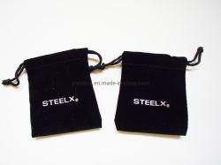 Veludo Preto luxuosos artigos de joalharia e embalagem de Cosméticos Saco com película quente logotipo prateado