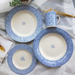 16pcs vierteilige Haushalt Größe Teller Tasse hellblau Grenze Keramik Geschirr