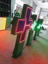 P14 de doble cara exterior LED verde farmacia cruz