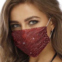 2020 maschera di protezione dei Sequins del cotone di modo di Bling, mascherina del tessuto del Rhinestone per la decorazione del partito
