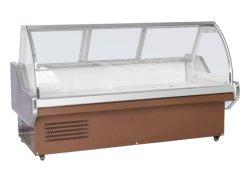 A refrigeração a ar curvo tipo porta de vidro delicatessen carnes Showcase refrigera o gabinete do monitor