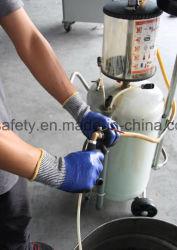 塗られるサンディの乳液が付いているナイロンシェルの乳液の安全手袋