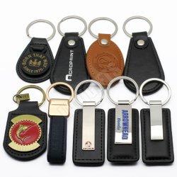 도매 싼 대량 Handmade 열쇠 고리 주문 금속 유명한 카드 차 로고 선전용 선물을%s 진짜 PU 차 상표 로고 가죽 Keychain