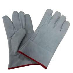 Doppelte Palmen-Kuh-aufgeteilte lederne Handschuhe schließen Schweißens-Arbeits-Handschuh kurz