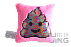 Rosa Sequin Popular Smiley almohada, lentejuelas de cambio de color