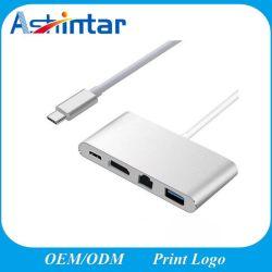 4 en 1 USB C HD 4K+Gigabit Ethernet (puerto RJ45) +USB 3.0 Adaptador tipo C HUB USB 3.1 Tipo C