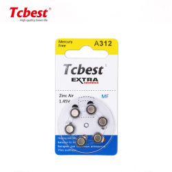 工場価格:亜鉛空気補聴器バッテリ 1.4V A312 6PCS/Blister カード補聴器 Pr48 A13 A312 312 亜鉛空気電池 675 13 312 10 (補聴器用