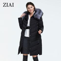 좋은 품질 여자 겨울 Fox 모피 고리 헐렁한 옷 겉옷 여자 겨울 외투를 가진 긴 외투 아래로 재킷 여자