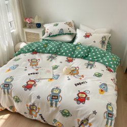 漫画綿 40s 4 ピースセットロボット恐竜車ツイル キルトのカバーの寝具セットベッドプロダクト男の子の子供のため