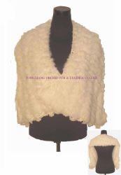 Hand-Knitted Caddice Cape com peles de coelho (ODS0767)