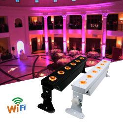 6 * 15W Rgbwap 6 in 1 무선 DMX IR 배터리 WiFi LED PAR 8PCS(케이스 포함