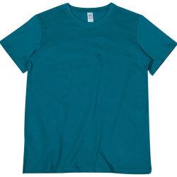 لون الطاووس الأزرق العادي 100% القطن الثقيل 250 جرامز عالي الجودة قميص فارغ سميك رجالي 'الطاقم العنق تي