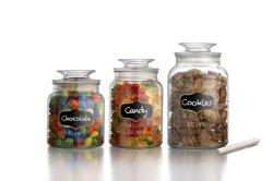 Jeu de 3 bocaux de stockage de verre avec couvercle en verre clair de la cartouche de stockage des aliments en vrac de verre Cookie Jar