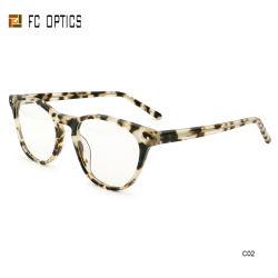 Venda por grosso Senhoras Sade Eye Ronda Transparente Acetato de prescrição clara high-end Classic Crystal Tortoise Demi Circle Óculos óptica reciclado óculos de quadros