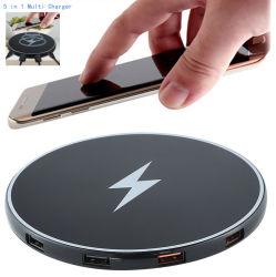 De mobiele Telefoon Qi van de Cel Draadloze Lader met 4 Multi Snelle het Laden van Haven USB Post 5 in 1 48W