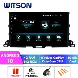 Witson Android 10 Voiture Lecteur multimédia pour Toyota Highlander 2015 4 Go de RAM 64 Go de mémoire Flash grand écran dans la voiture lecteur de DVD